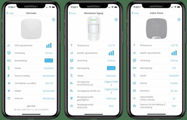 draadloos alarmsysteem app functies